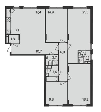 Пятикомнатная квартира в ЖК «Испанские кварталы»