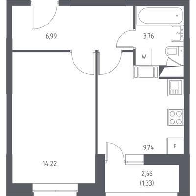Однокомнатная квартира в ЖК «Пригород Лесное»