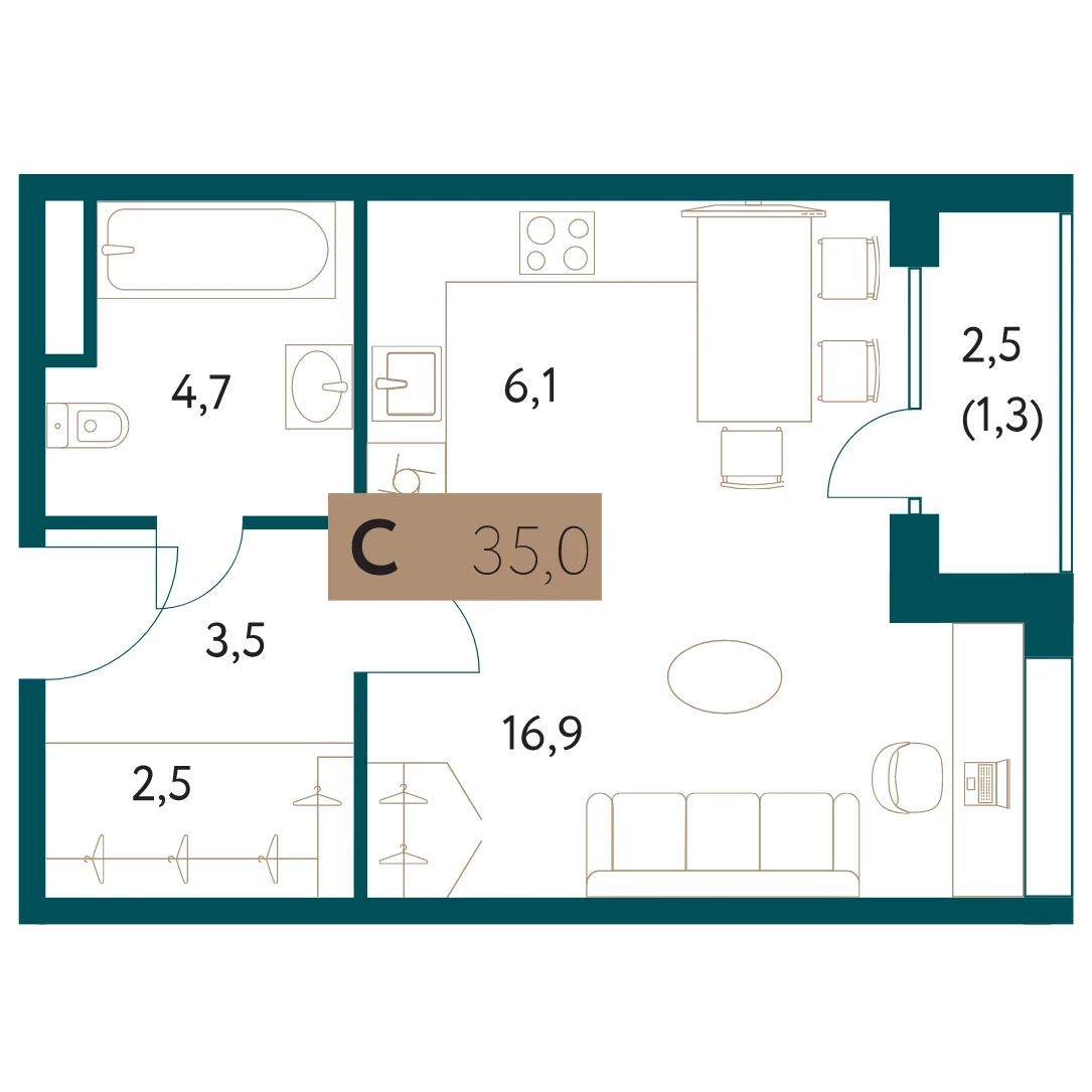 ЖК «Настоящее»: Квартира-студия, 35 м²