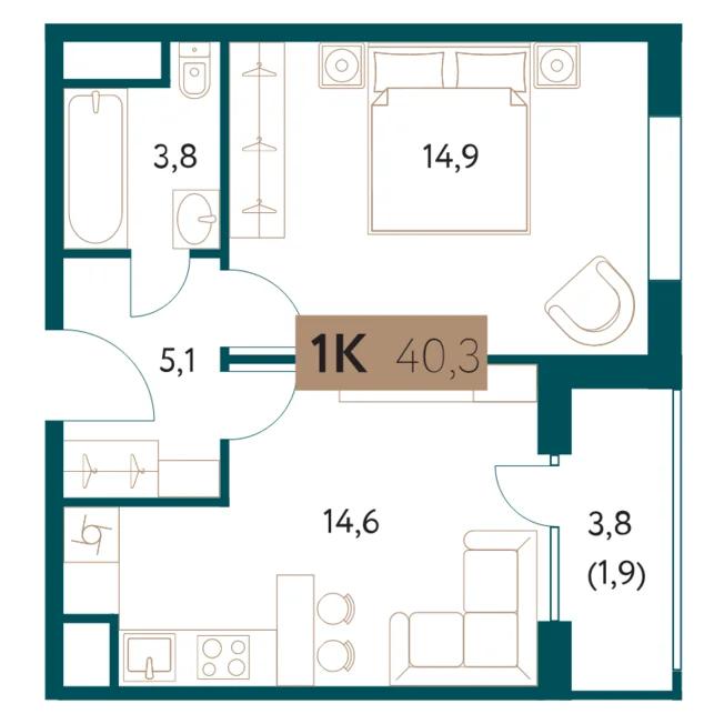 ЖК «Настоящее»: 1-комнатная квартира, 40.3 м²
