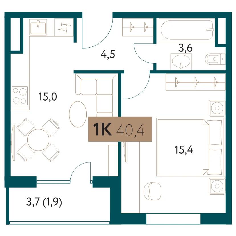 ЖК «Настоящее»: 1-комнатная квартира, 40.4 м²