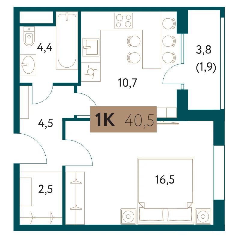 ЖК «Настоящее»: 1-комнатная квартира, 40.5 м²