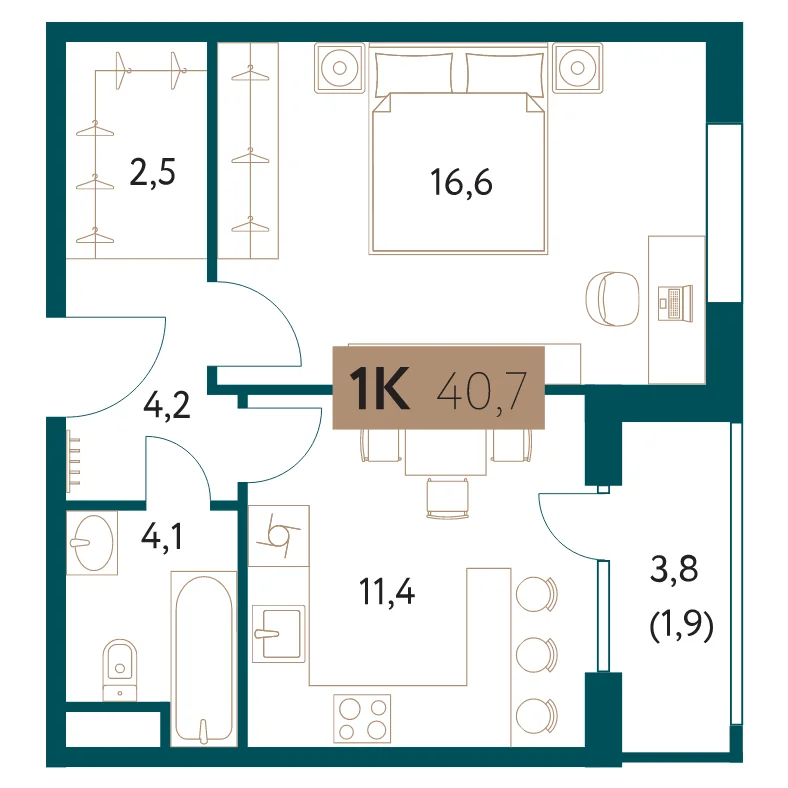 ЖК «Настоящее»: 1-комнатная квартира, 40.7 м²