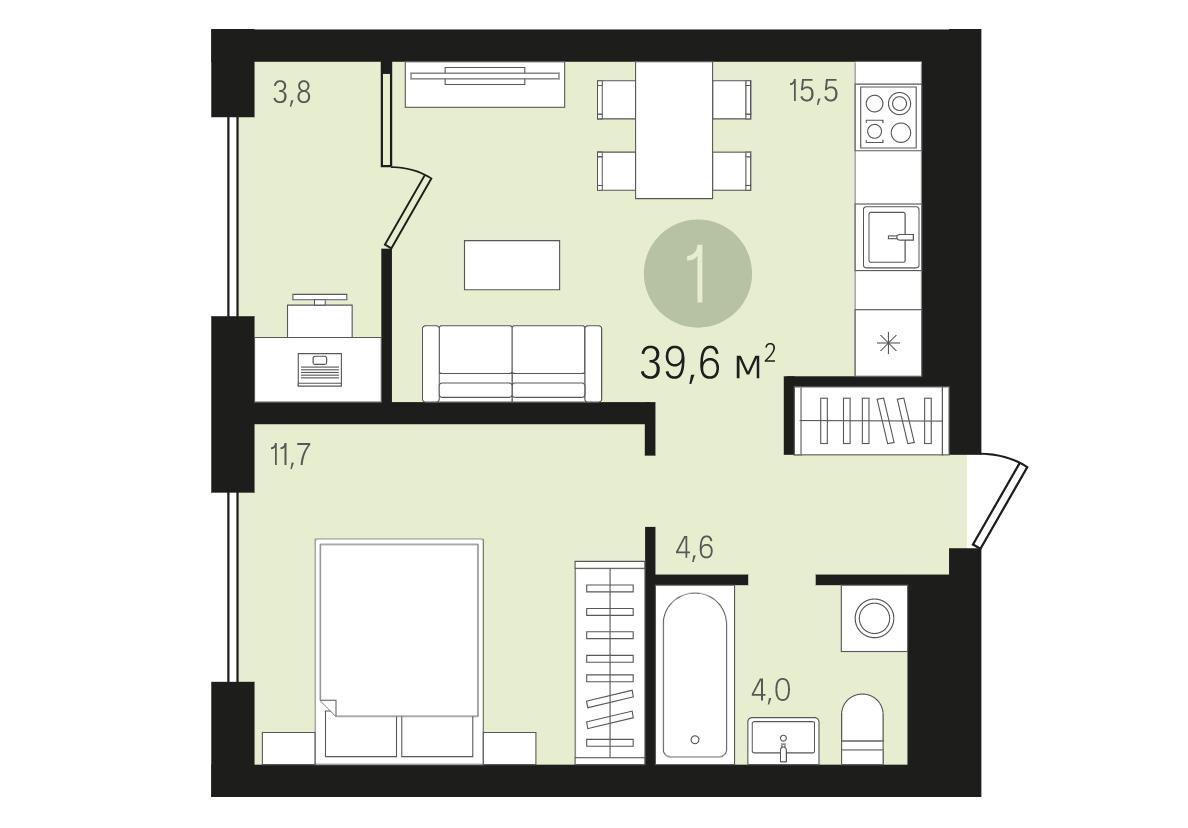 ЖК «Первый квартал»: однокомнатная квартира с предчистовой отделкой