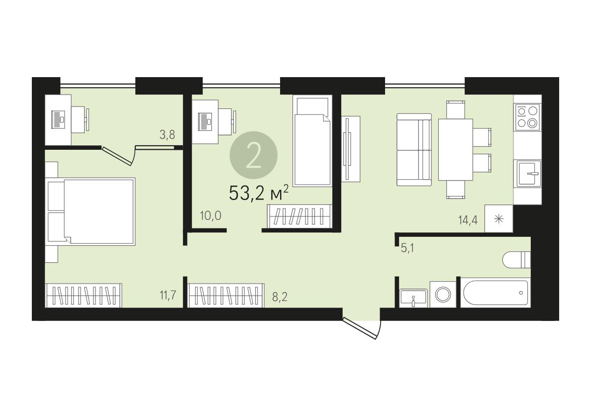 ЖК «Первый квартал»: двухкомнатная квартира с предчистовой отделкой