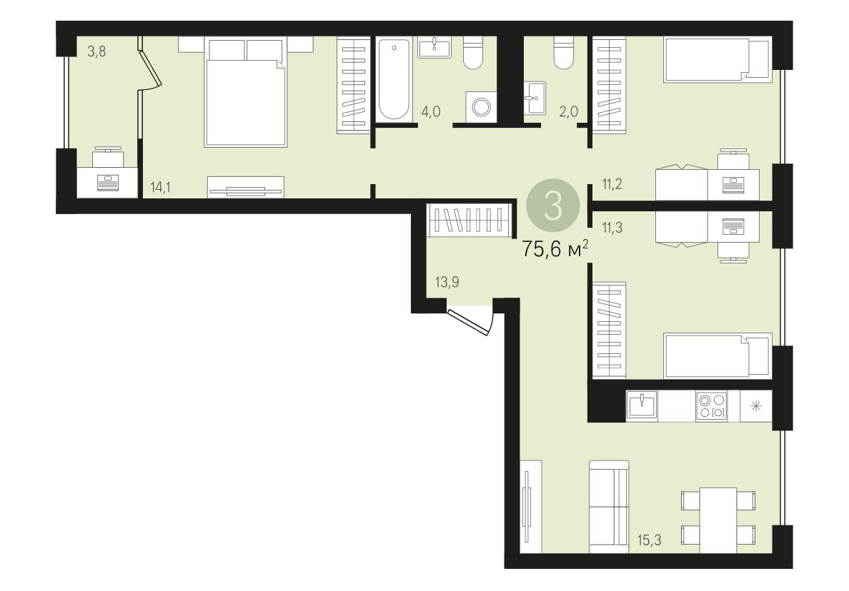 ЖК «Первый квартал»: трехкомнатная квартира с предчистовой отделкой