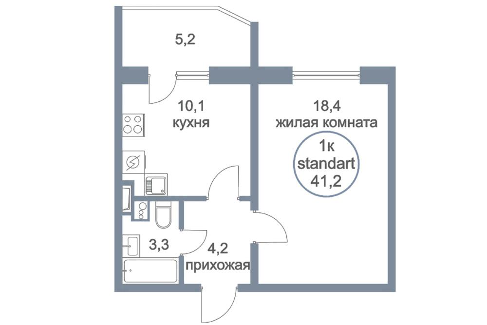 ЖК «Первый Зеленоградский» | Планировки | Однокомнатная квартира