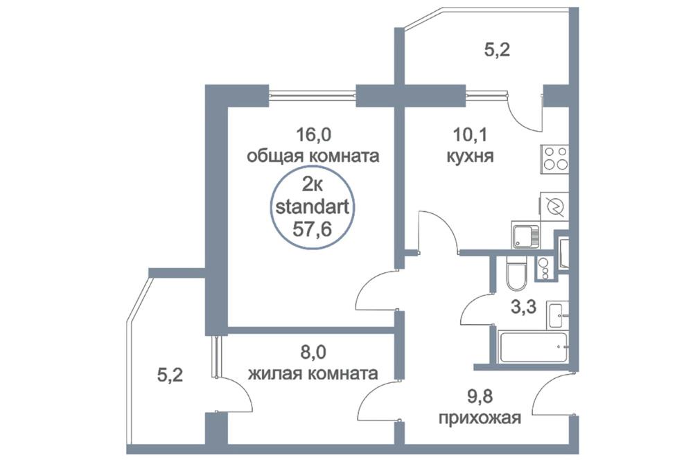 ЖК «Первый Зеленоградский» | Планировки | Двухкомнатная квартира